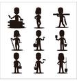 Kids builders characters silhouette vector image