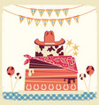 cowboy happy birthday card with cake and cowboy vector image