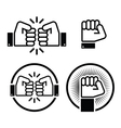 Fist fist bump icons set vector image