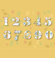 set of white floral numbers vector image