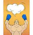Boxer-style pop art with a bubble over his head vector image