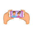 Hands photographed on a cell phone icon vector image