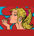 blonde paints lips with lipstick vector image