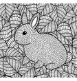 cute little rabbit on the leaves background vector image
