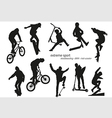 Extreme sport silhouette - skateboarding kick vector image