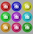 Identification card icon sign symbol on nine round vector image
