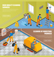 isometric industrial cleaning banner set vector image