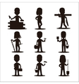Kids builders characters silhouette vector image