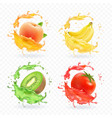 kiwi fruit banana tomato peach apricot juice vector image