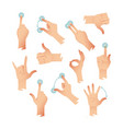set of human hands applause tap helping action vector image