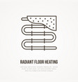 underfloor heating flat line icon outline sign of vector image
