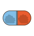 medical pill capsule drugs blue and red vector image