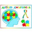 autism awareness graphic elements vector image