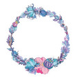 floral frame in indigo and pink vector image vector image