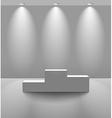 White lightened room with pedestal vector image