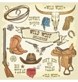 Wild West icons collection vector image