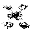 fishes and octopus set vector image vector image