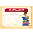 Certificate template with owl reading books vector image vector image