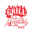 bbq chef carry gator grill retro vector image