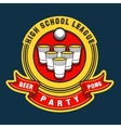 Beer pong party logo vector image