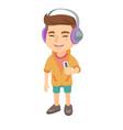 caucasian boy listening to music in headphones vector image