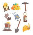 gold mining set for label design mining vector image