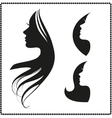 icon silhouette of a girl with long hair vector image