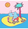 rhinoceros has a rest on the island vector image