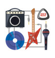 set electric guitar with amplifier speaker cd and vector image