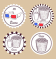 Sketch cinema food logotype vector image