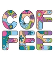 Coffee word colorful vector image