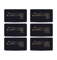 Gift cards set Gold letters on a black vector image