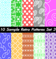 10 Retro Patterns Textures Set 3 vector image vector image