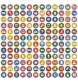144 icons retro color vector image