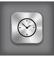 Clock icon - metal app button vector image vector image
