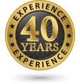 40 years experience gold label vector image vector image