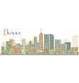 Abstract Denver Skyline with Color Buildings vector image