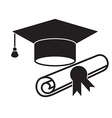 Graduation Hat and Diploma Icon vector image