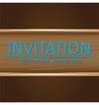 Art brown wooden invitation card vector image