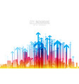 cityscape with skyscrapers and colorful arrow vector image