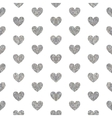 Seamless pattern of silver hearts vector image