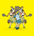 tennis players men action vector image