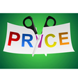 scissors cut the sheet labeled price vector image