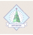 Vintage badge or labels with Christmas tree vector image