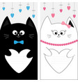 black white cat kitty family couple holding heart vector image