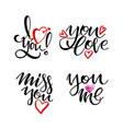 happy valentine s day lettering collection set of vector image