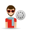 man hipster concept movie cinema film reel icon vector image