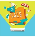 Sales of goods through the mobile device vector image