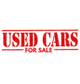 used cars stamp vector image