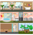 set of spa salon interior concept posters vector image
